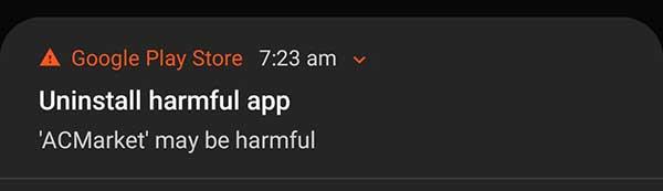 uninstall harmfull apps notification