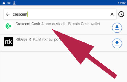 Crescent cash search on F-Droid